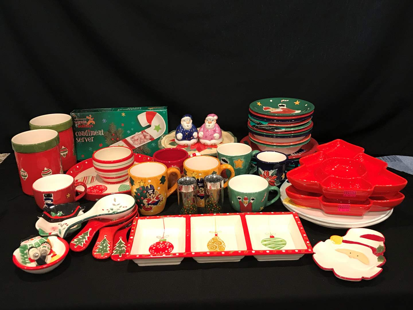 Lot # 53 - Lot of Gibson Christmas Dinnerware, Serving Dishes & More.. (main image)