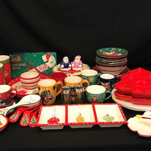 Lot # 53 - Lot of Gibson Christmas Dinnerware, Serving Dishes & More..