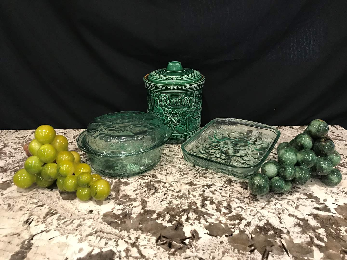 Lot # 69 - Glass Baking Dishes, Rumtopf Cookie Jar, Casserole Dishes & 2 Large Marble Grapes (main image)