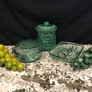 Lot # 69 - Glass Baking Dishes, Rumtopf Cookie Jar, Casserole Dishes & 2 Large Marble Grapes