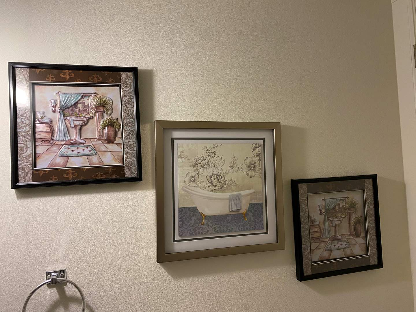 Lot # 135 - Three Pieces of Bathroom Wall Art  (main image)