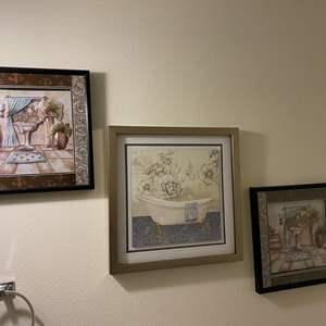 Lot # 135 - Three Pieces of Bathroom Wall Art