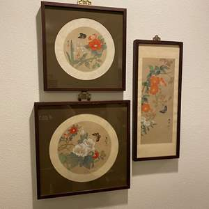 Lot # 136 - Three Pieces of Signed Asian Wall Art