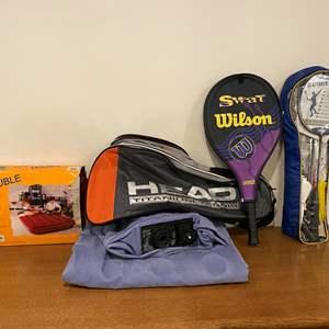 Lot # 144 - Brand New Badminton Set, New Wilson Tennis Racket/Bag, Two Air Mattresses