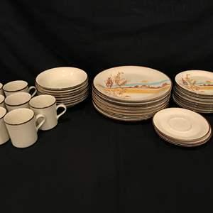 "Lot # 92 - Beautiful 35 Piece Set of Anchor Hocking Stoneware ""Desert Bloom"""