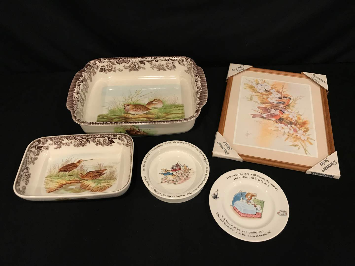 Lot # 93 - Spode Woodland Baking Dishes & Wedgewood Peter Rabbit Children's Dishes & More.. (main image)