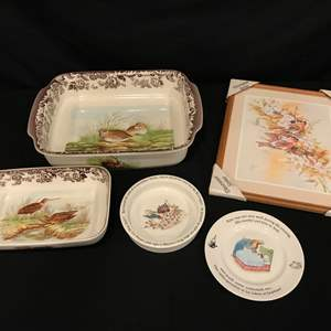 Lot # 93 - Spode Woodland Baking Dishes & Wedgewood Peter Rabbit Children's Dishes & More..