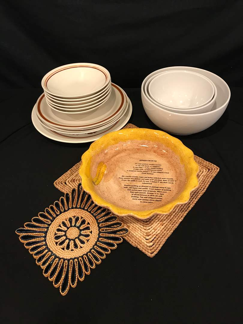"Lot # 94 - Taylor Ironstone ""Straw Flower Brown"" Plates, Mixing Bowls, Pie Plate & More.. (main image)"