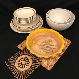 """Lot # 94 - Taylor Ironstone """"Straw Flower Brown"""" Plates, Mixing Bowls, Pie Plate & More.."""