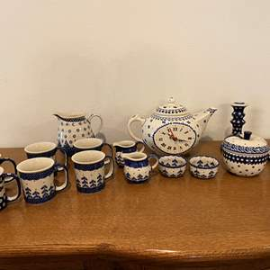 "Lot # 156 - Seventeen Pieces of Beautiful Matching ""Boleslawiec"" Polish Dishes"