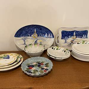 Lot # 159 - Hand Painted Italian Dishware & Other Misc. Dishware