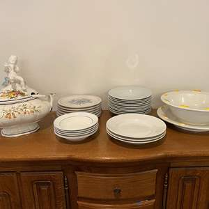 Lot # 160 - Misc. Dinner Plates, Bowls, Soup Tureen & Large Pasta Bowl