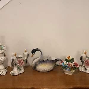 """Lot # 164 - Capodimonte Style Porcelain Vases, Lamp, Swan, Signed """"Bassano"""" Floral Arrangement"""