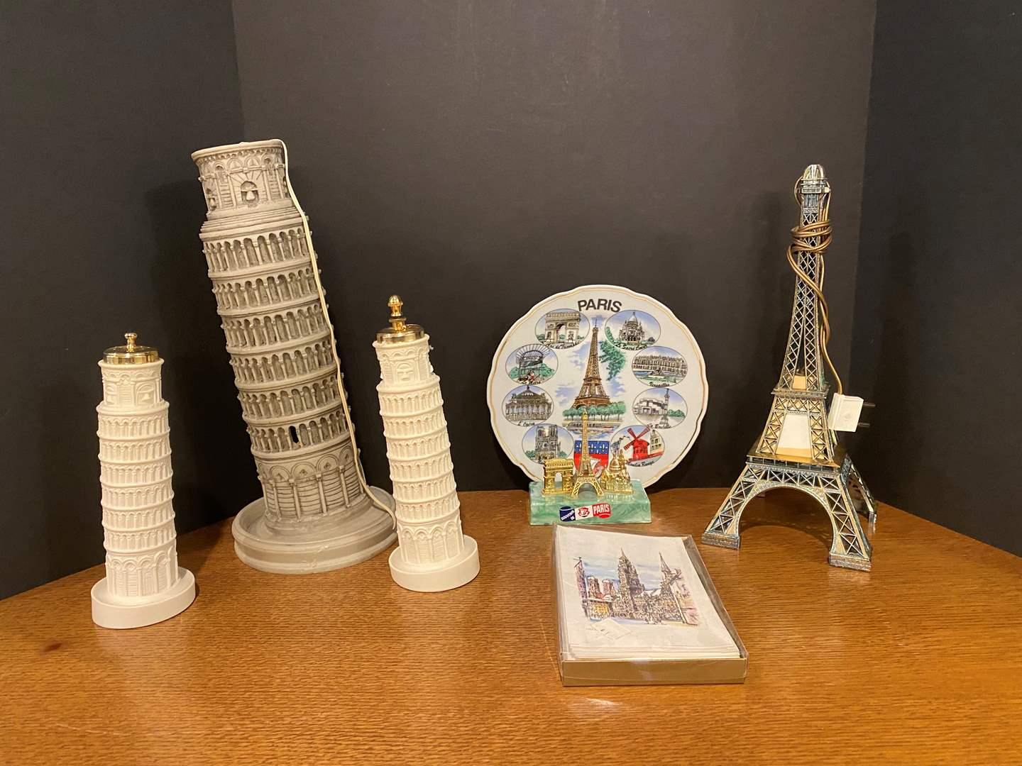 Lot # 166 - Leaning Tower of Pisa Lamp w/Salt & Pepper Shakers, Eiffel Tower Lamp, Paris Plate & More.. (main image)
