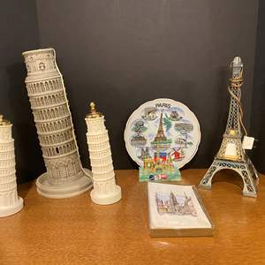 Auction Thumbnail for: Lot # 166 - Leaning Tower of Pisa Lamp w/Salt & Pepper Shakers, Eiffel Tower Lamp, Paris Plate & More..