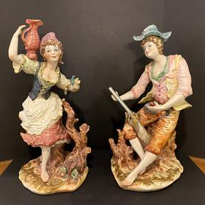 """Lot # 173 - Two Large Ceramic Figurines - 26"""" Tall"""
