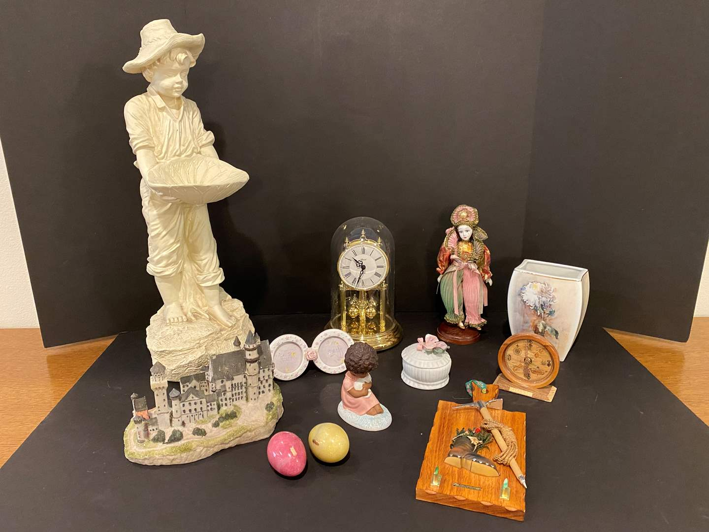 Lot # 175 - Hummel Vase, Goebel Figurines, Resin Statue, Plastic Anniversary Clock & More.. (main image)