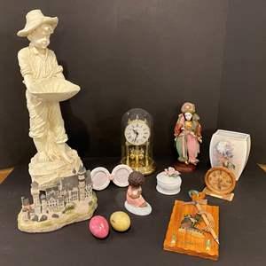 Lot # 175 - Hummel Vase, Goebel Figurines, Resin Statue, Plastic Anniversary Clock & More..