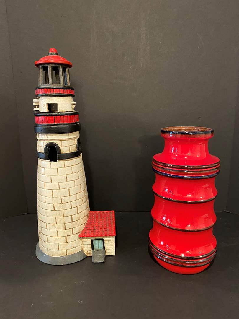 Lot # 176 - Heavy Cast Iron Lighthouse Candle Holder, Nice Red German Vase (main image)