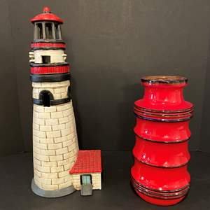Lot # 176 - Heavy Cast Iron Lighthouse Candle Holder, Nice Red German Vase