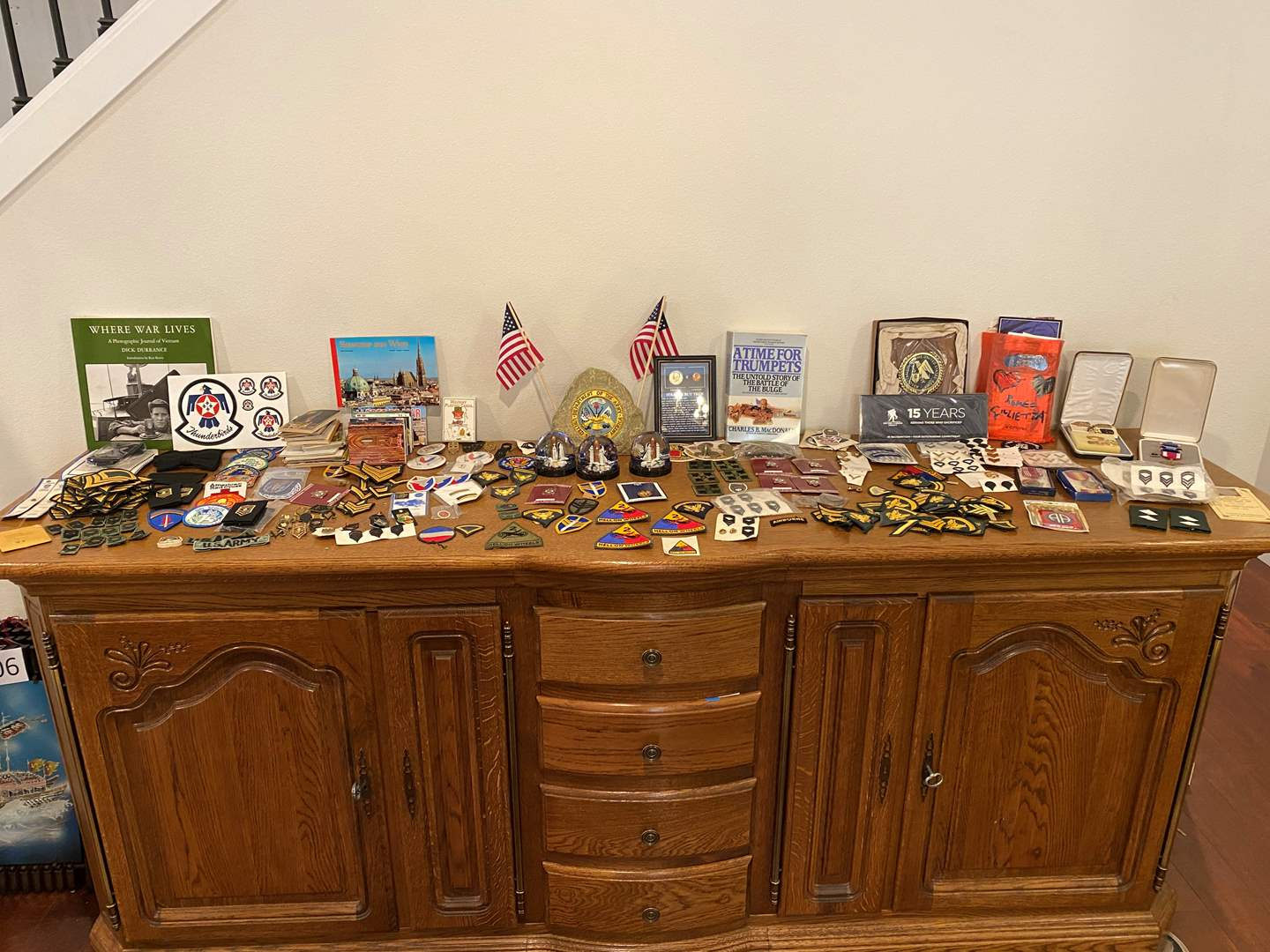 Lot # 178 - Military Patches, Pins, Medals, Post Cards, Girl Scout Patches & Other Military Items (main image)