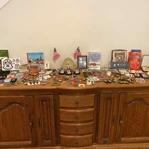 Lot # 178 - Military Patches, Pins, Medals, Post Cards, Girl Scout Patches & Other Military Items