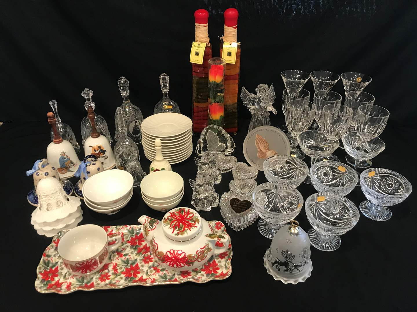 Lot # 213 - Misc. Crystal Stemware, Misc. China, Norman Rockwell Bells, Decor & More.. (main image)