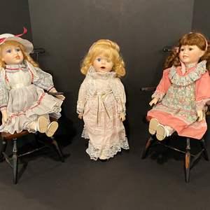 Lot # 180 - Three Porcelain Dolls w/Wood Chairs
