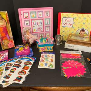 Lot # 181 - Kids Items: Baby Books, Dominos, Little Mermaid Watch, Dolls, Stickers & More..