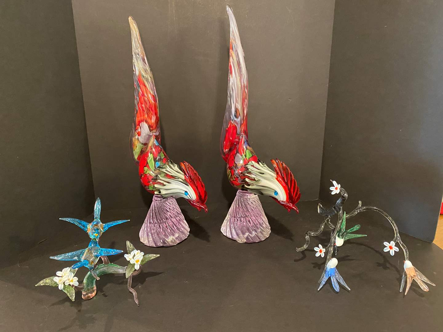 Lot # 182 - Two Heavy Glass Roosters, Two Pieces of Glass Bird Art (main image)