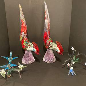 Lot # 182 - Two Heavy Glass Roosters, Two Pieces of Glass Bird Art