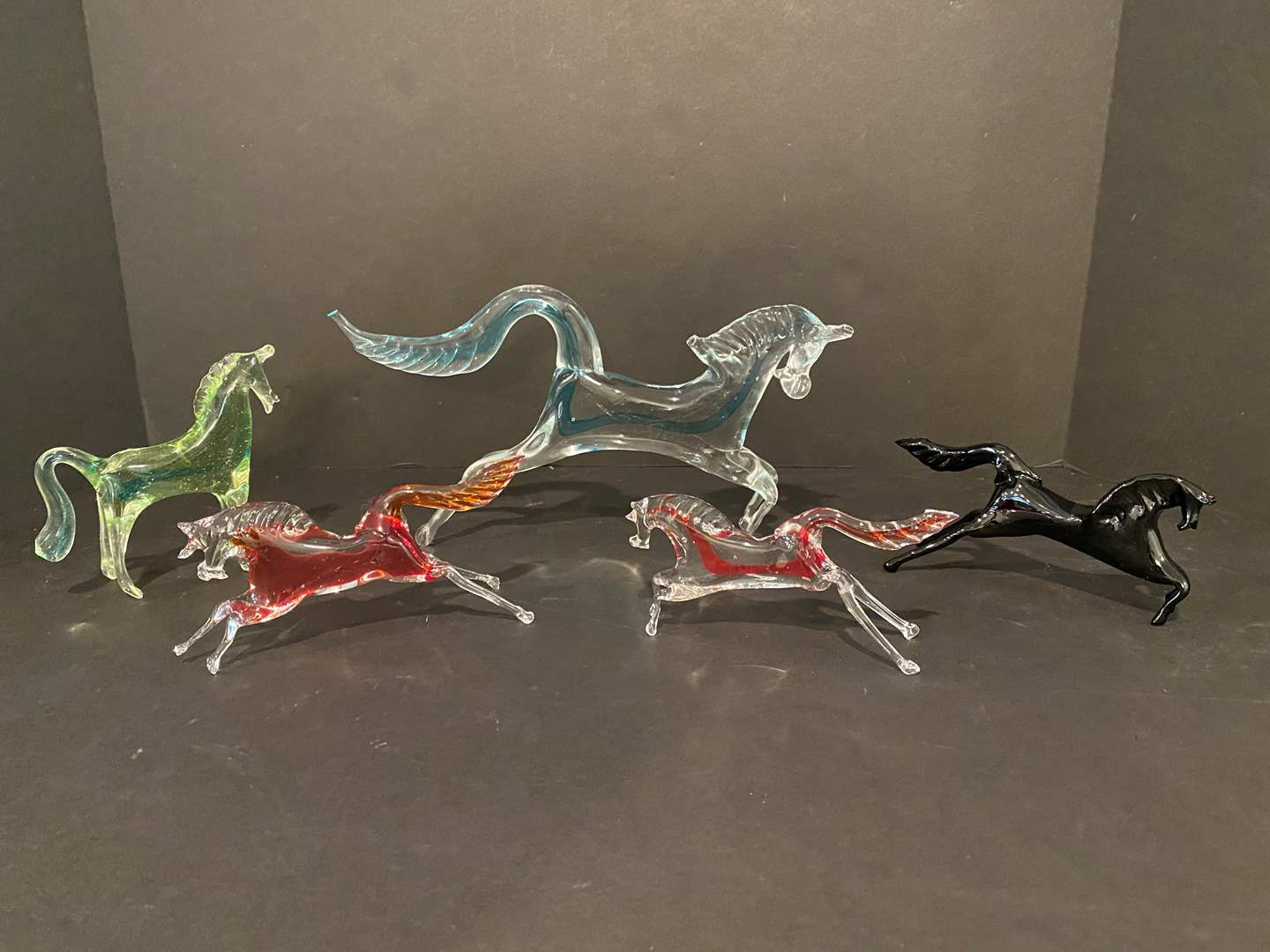 Lot # 183 - Five Glass Horses (main image)