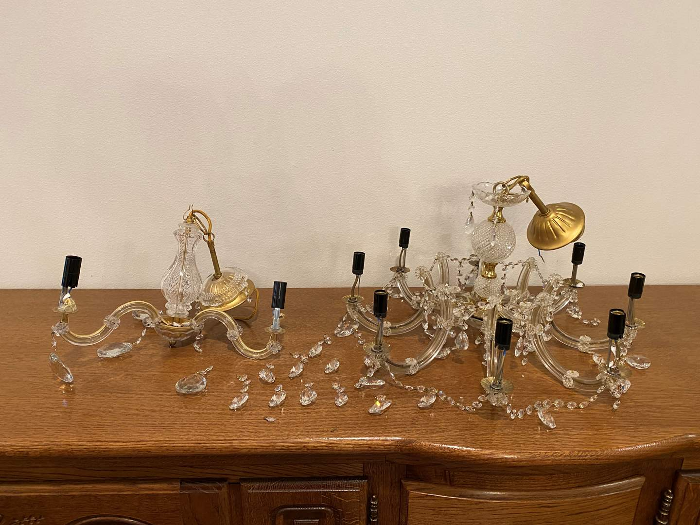 Lot # 188 - Two Crystal/Glass Chandelier - Possibly Murano?  (main image)