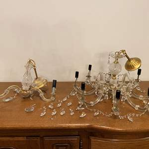 Lot # 188 - Two Crystal/Glass Chandelier - Possibly Murano?