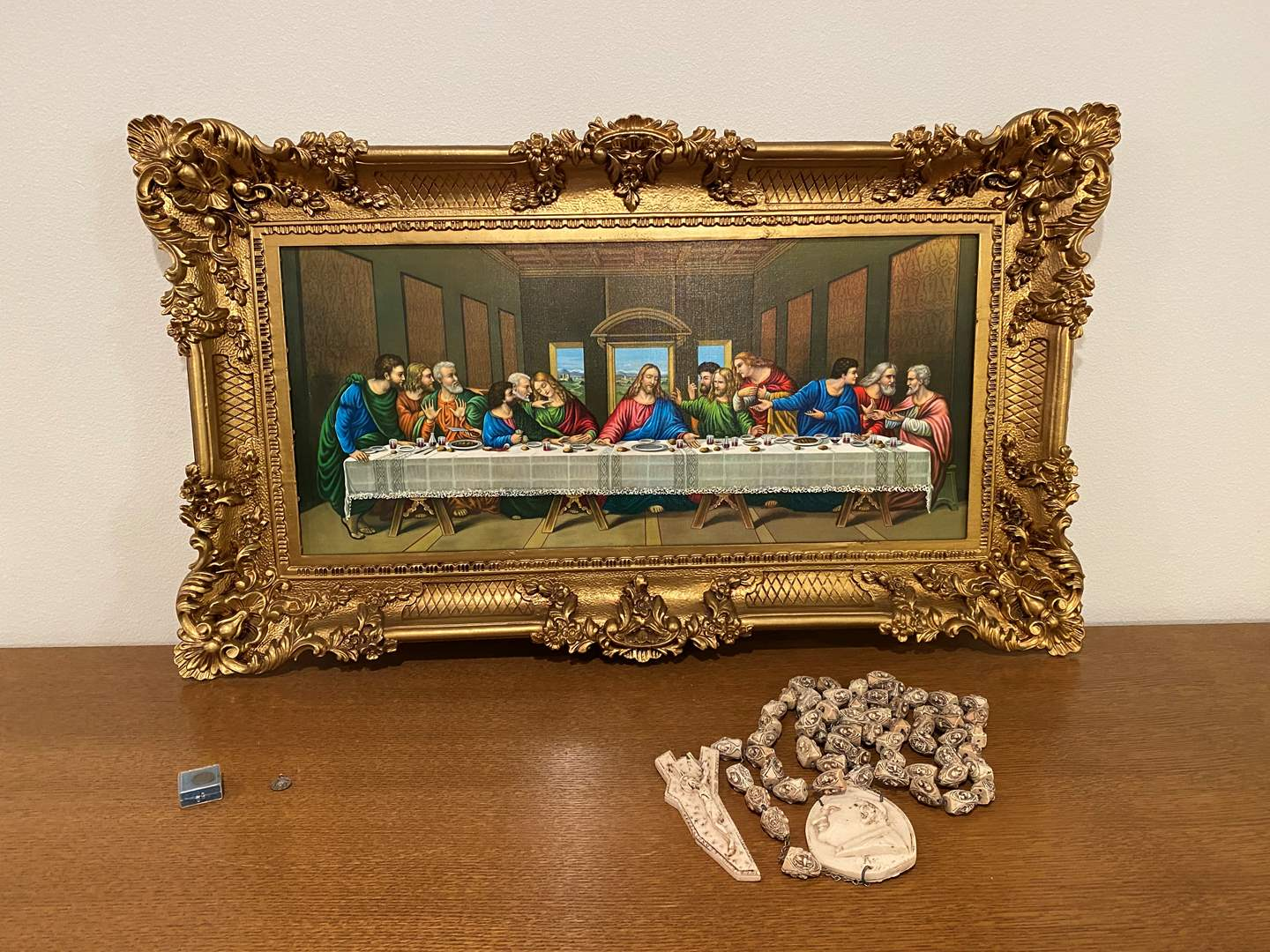 """Lot # 191 - Colorful Acrylic Framed """"The Last Supper"""" Print, Carved Religious Necklace & More.. (main image)"""