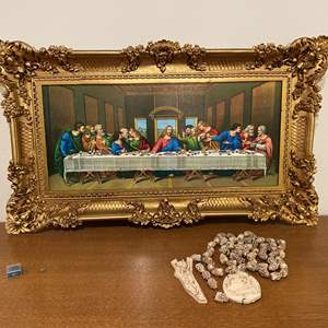 """Lot # 191 - Colorful Acrylic Framed """"The Last Supper"""" Print, Carved Religious Necklace & More.."""