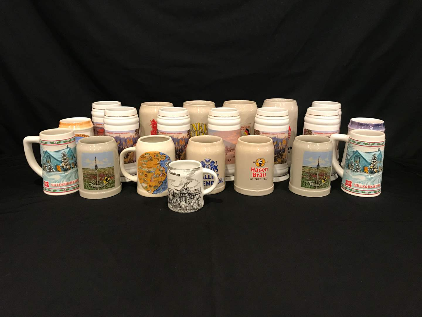 Lot # 218 - Collection of American & German Beer Steins, Wood Beer Stein Rack-Not in Opening Picture (main image)