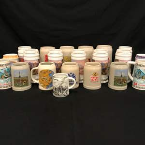 Lot # 218 - Collection of American & German Beer Steins, Wood Beer Stein Rack-Not in Opening Picture