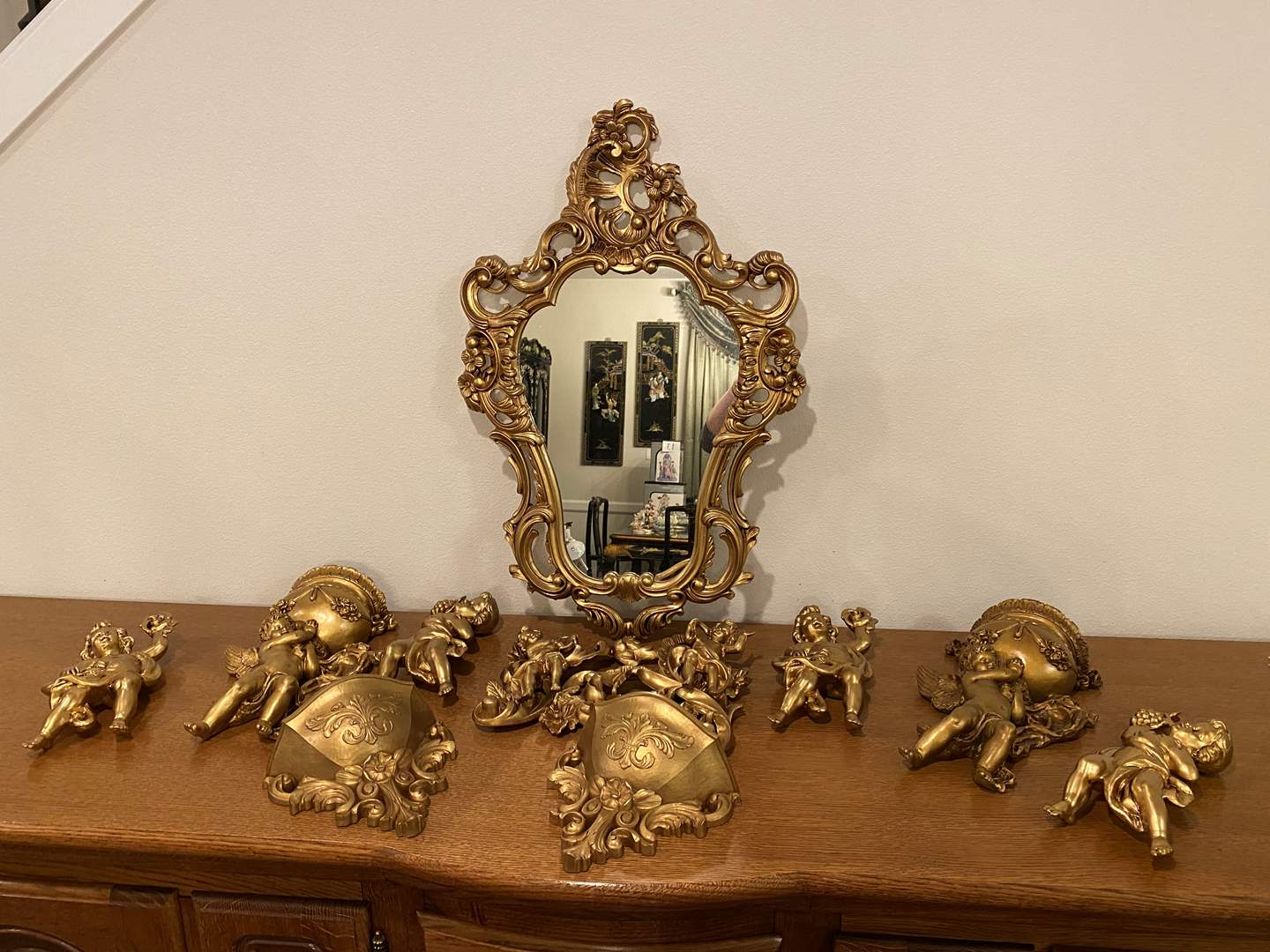 Lot # 192 - Gold Toned Acrylic Mirror w/Collection of Acrylic Cherubs (main image)