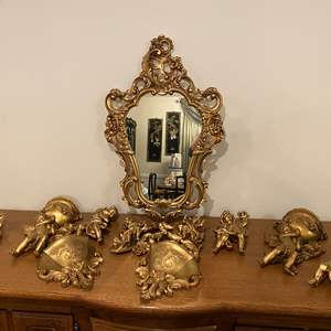 Lot # 192 - Gold Toned Acrylic Mirror w/Collection of Acrylic Cherubs
