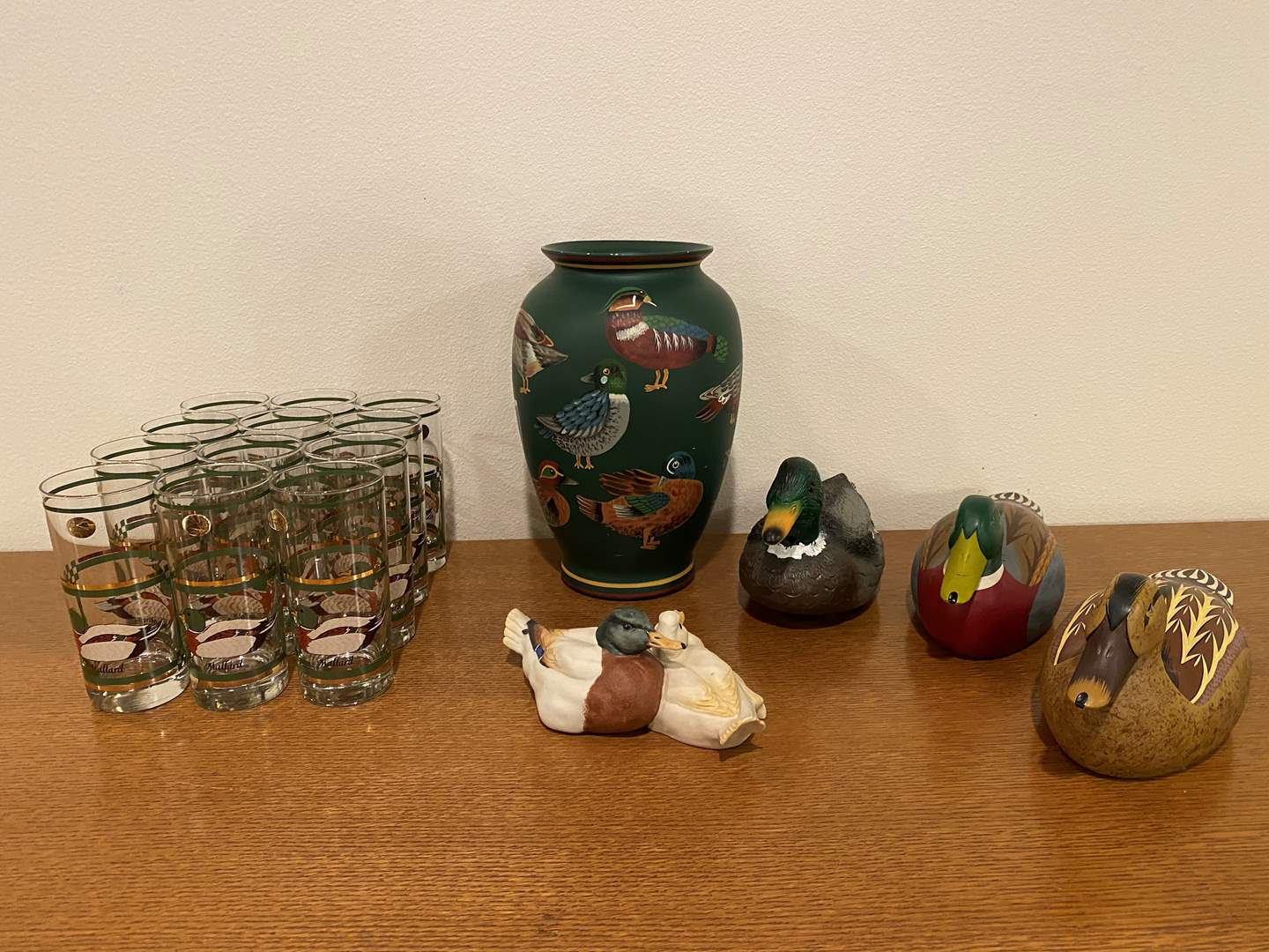 Lot # 40 - Painted Duck Vase w/Wood, Plastic & Porcelain Ducks (main image)