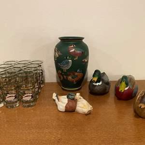 Lot # 40 - Painted Duck Vase w/Wood, Plastic & Porcelain Ducks