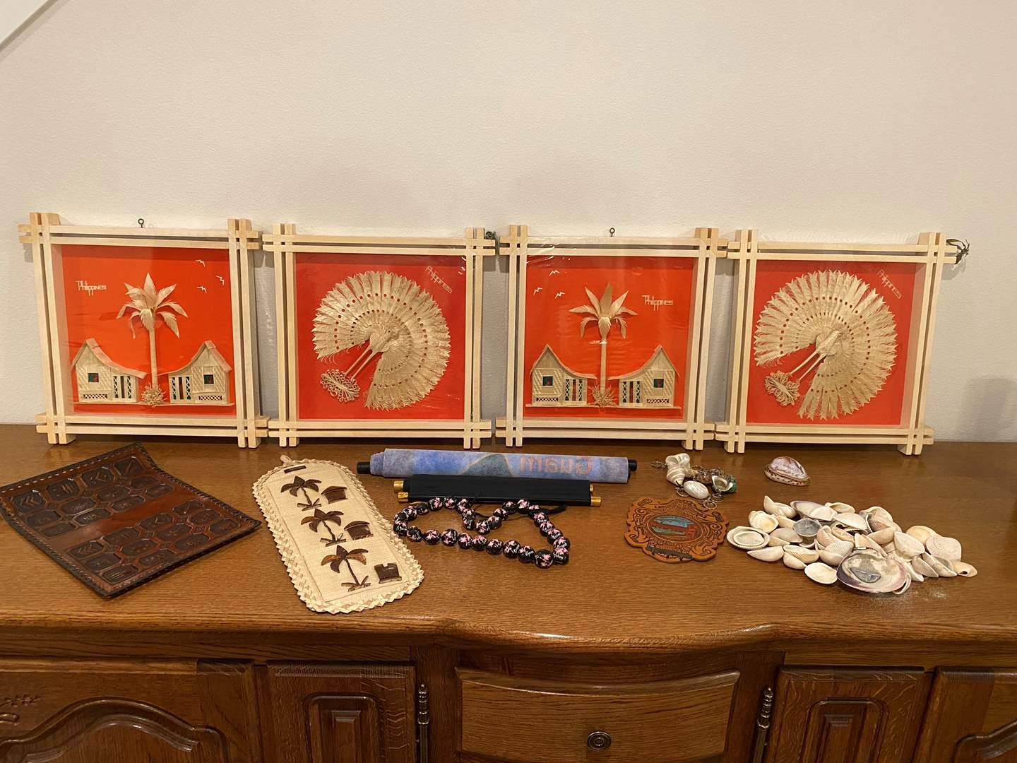 Lot # 195 - Handmade 3D Wood Artwork from the Philippines, Shell Key Chains & Shells, Scrolls & More.. (main image)
