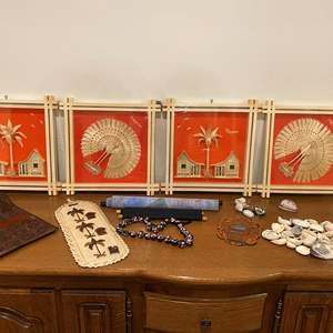 Lot # 195 - Handmade 3D Wood Artwork from the Philippines, Shell Key Chains & Shells, Scrolls & More..