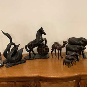 Lot # 196 - Wood Oxen, Leather Camel, Wood Horse, Resin Swans, Wood Giraffe