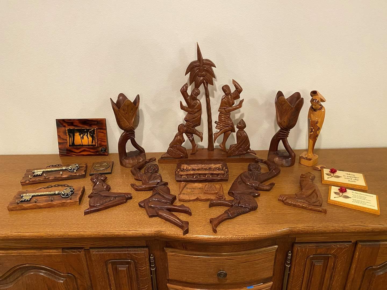 Lot # 197 - Wood Tinikling Set, Wood & Resin Carved Items (main image)