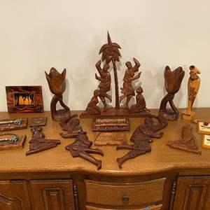 Lot # 197 - Wood Tinikling Set, Wood & Resin Carved Items