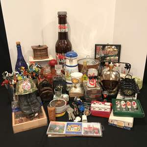 Lot # 220 - Selection of Coasters, Shot Glasses, Decanters, Glass Stir Sticks & More..