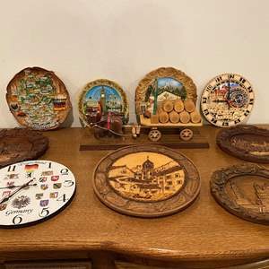 Lot # 198 - Wood & Resin Carved Wall Art, German Clocks, Wood Horse Drawn Carriage & More..
