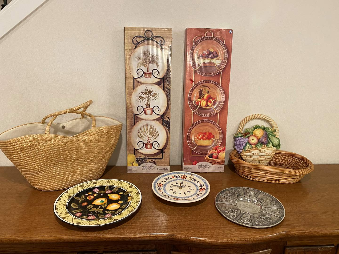 Lot # 199 - Two New in Box Plate Racks, Decor, Basket & More.. (main image)